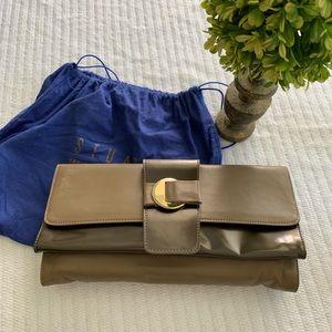 STUART WEITZMAN leather clutch w/shoulder strap